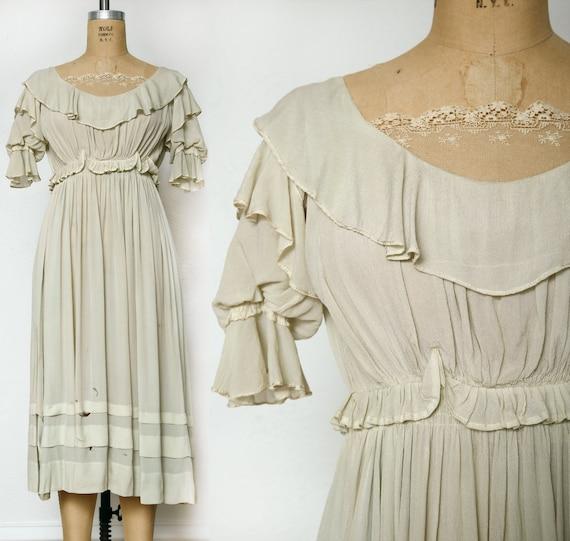 Antique Pale Green Silk Dress