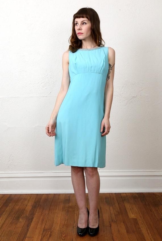 1960s Open Back Dress . Robins Egg Blue - image 5