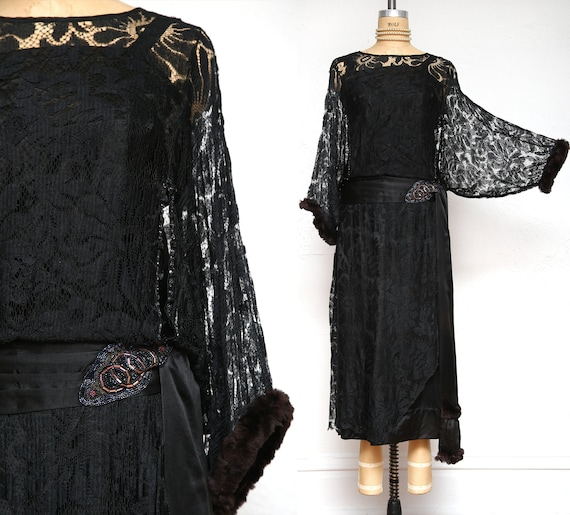 Antique Black Silk Lace Fur Beaded Gown !