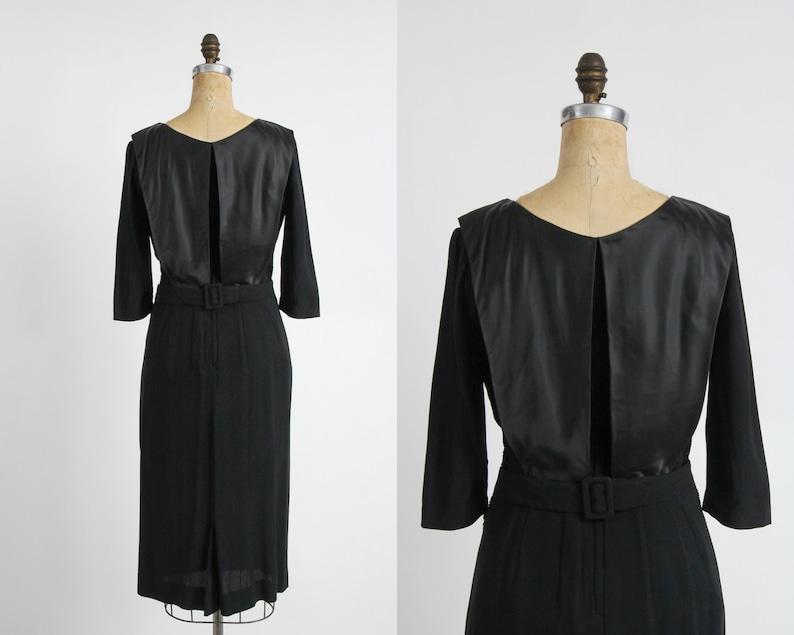 1950s Black Dress Faux Diamond /& Satin Panel