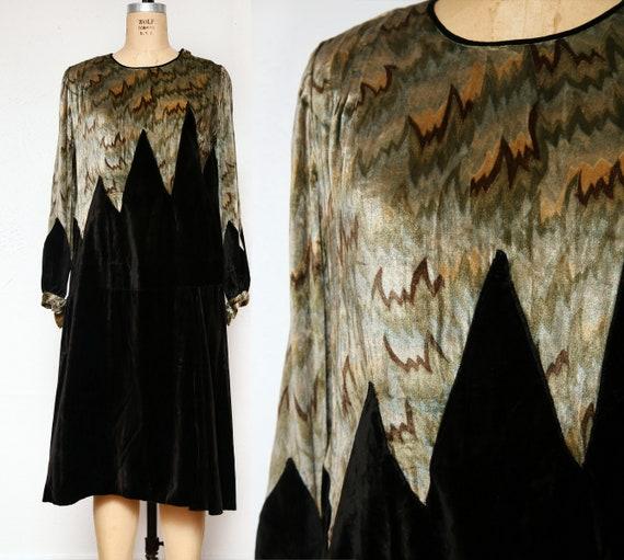 1920s Velvet Flapper Dress Zig Zag Bias Cut GOWN