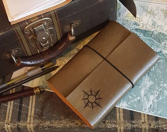 compass explorer travel journal with maps, distressed faux leather by tremundo