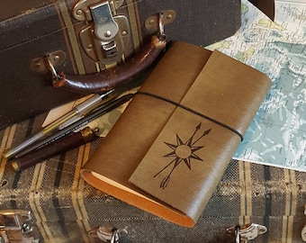 True North explorer travel journal, larger distressed faux vegan leather wanderlust journal by tremundo