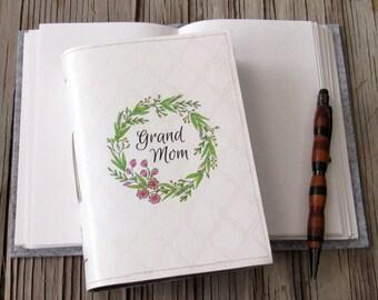 grandmom journal - grandmom floral wreath journal, gifts under 30 by tremundo
