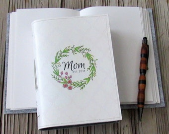 new mom journal - mom floral wreath journal, gifts under 30 by tremundo