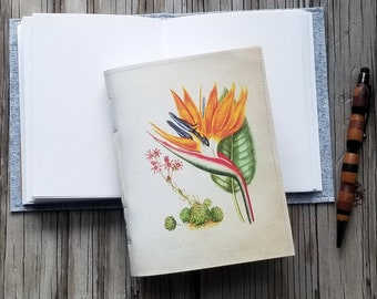 vintage bird of paradise journal, diary notebook planner, floral, joy gratitude journal - gift giving for under 25