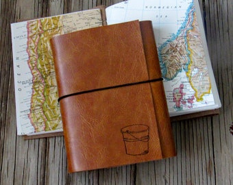 bucket list journal with maps as a travel journal in faux leather journal by tremundo