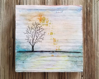 reaching mixed media tree nature art - tremundo