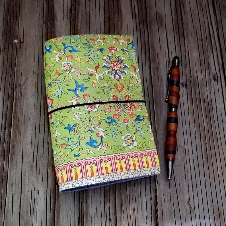 floral refillable journal - Owen Jones 066 floral, vegan travelers notebook  cover, planner cover, vintage boho floral art deco
