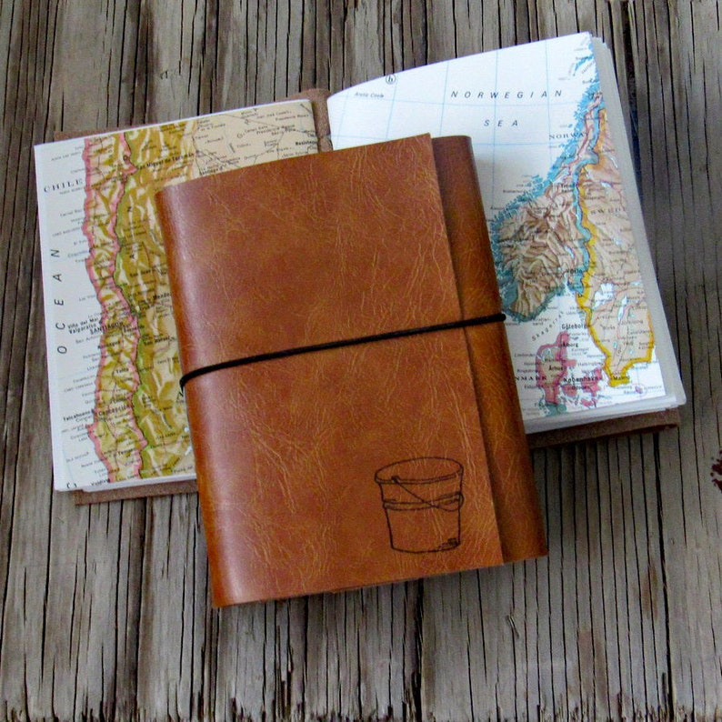 bucket list journal travel journal journal with maps  tan image 0