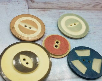 Sewing 19 Fancy Green Buttons 2 hole Funky Accent Carved Assorted Round Pine Green Large Vintage Celluloid type Destash Olive Green