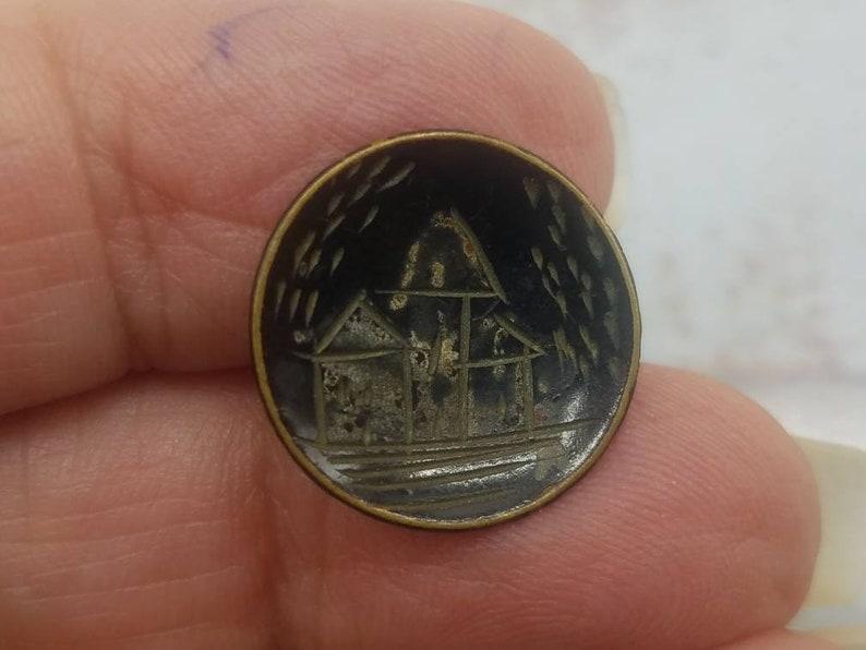 1 beautiful Vintage button apr 312 20 black enamel etched village design 34 inch