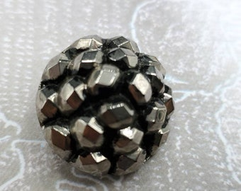 """Vintage Buttons - lot of 1 silver luster beaded jet black accent shape glass, novelty cut glass, 1 """" 25.5mm( Sept 348 21)"""