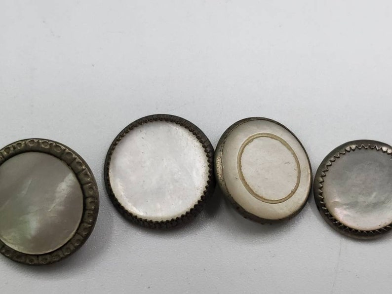 Vintage Buttons 4 Victorian waistcoat assorted small mother of pearl set in metal 716 11mm 916 14mm jan 857 21