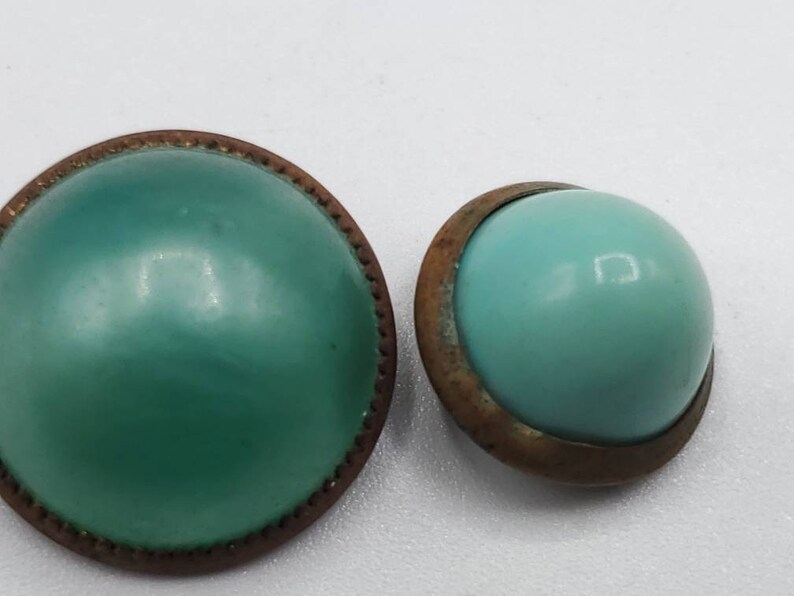 jan 45 21 Vintage buttons Beautiful 2 small and  medium fancy Victorian pale green moon glow acrylic center brass metal setting