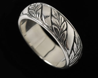 Laurel Leaf Wedding Band with Stripe, Engraved Collection    2505S