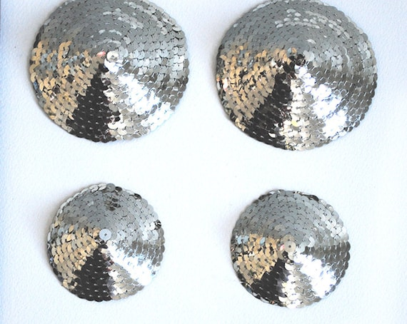 Silver Sequin Leather Backed Pasties