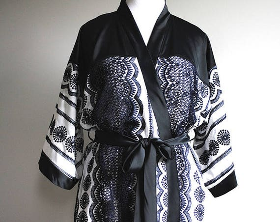 Illia Kimono Robe - L/XL - Midnight Blue and White - OOAK