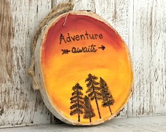 Tree Ornament Adventure Awaits, home decor, home gift, tree slice, birch wood
