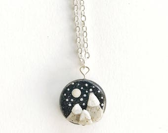 Snowcapped Mountain Landscape Necklace, Polymer Clay