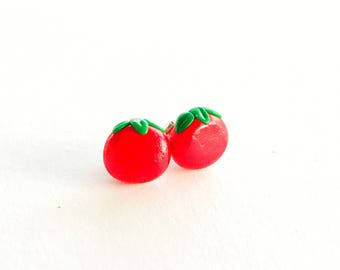 Tomato Earring Studs, Tomato Jewelry, Tomato Earrings, Premo, Sculpey, Tomato Gift