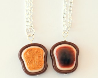 Best Friend, Best Friend Necklaces, Peanut Butter and Jelly, Friend Necklaces, Realistic BFF Necklaces