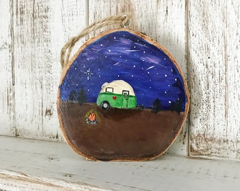 Camper Ornament, Home Decor Gift, Home Gift, Acrylic painting, Camper, Casita, RV, Camping, Travel