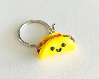 Taco Charm Keychain, Food Jewelry, Taco Key Chain, Taco Tuesday, Polymer Clay, BFF Gift