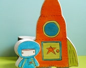 Wooden Star House Rocket Ship and Space Boy