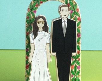 Custom Wedding Cake Topper Couple and Arbor
