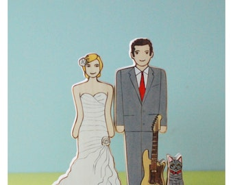 Custom Wedding/Commitment Ceremony Cake Topper Couple with One Instrument   or  Object and One Pet