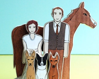 Custom Wedding Cake Topper couple with Three Pets and a Horse