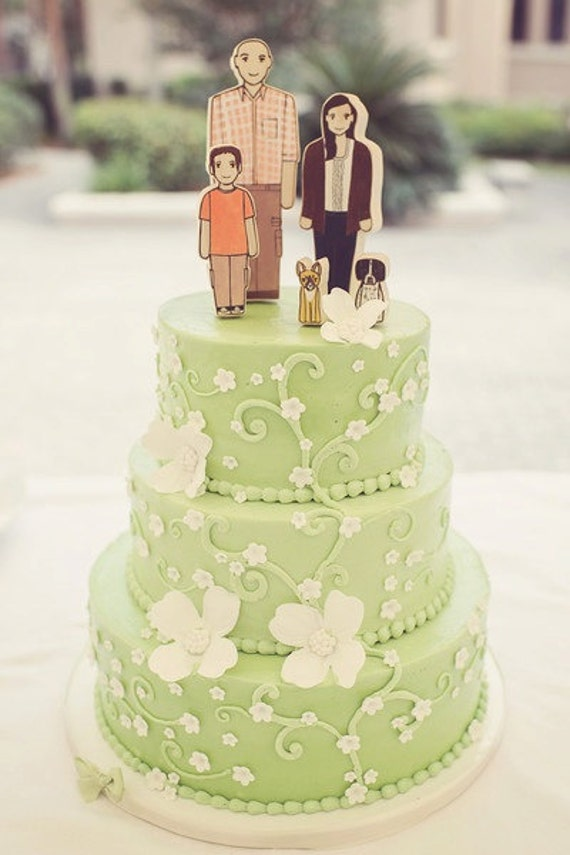 Custom Family Wedding Cake Topper Two Adults One Child and