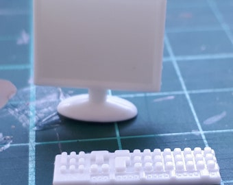 Computer Monitor and Keyboard for Dollhouse & Dioramas