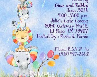 Custom Baby Shower, Invitations, Watercolor, Sprinkle, Baby Shower, Rainbow, Jungle, Elephant, Zebra, Lion, Monkey, Digital