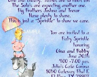 Custom Baby Shower, Invitations, Watercolor, Sprinkle, Baby Shower, Farm, Cow, Chicken, Sheep, Pony, Pig, Digital