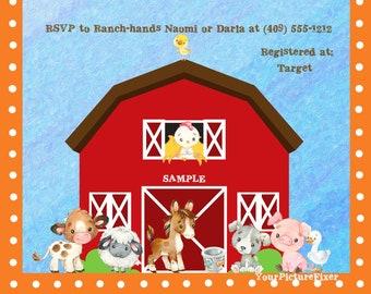 Custom Baby Shower, Invitations, Watercolor, Baby Shower, Farm, Barn,Country, Cow, Chicken, Sheep, Pony, Pig, Digital