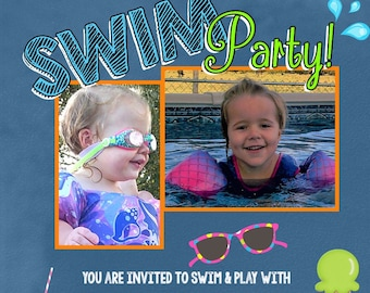 Custom Photo Invitation, Children, Swim, Pool Party, Boho, Summer, Kids, Swim, Digital