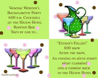 BridalShower Happy Hour Party Invitation Martini Surprise Birthday Cosmopolitan Bachelorette