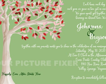family tree wedding invitations several samples shown etsy