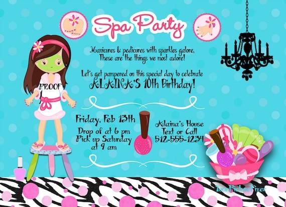 Spa Birthday Invitation Nail Salon Beauty Shop Girl