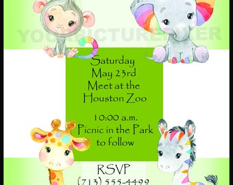 Custom Birthday Invitation, Children, Zoo, Watercolor, Boho, Rainbow, Giraffe, Zebra, Monkey, Elephant, Kids, Digital
