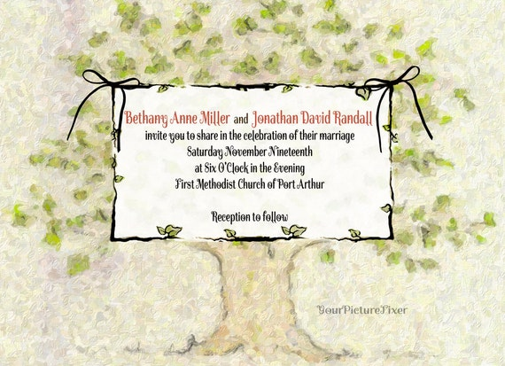 Family Tree Wedding Invitations Several Samples Shown
