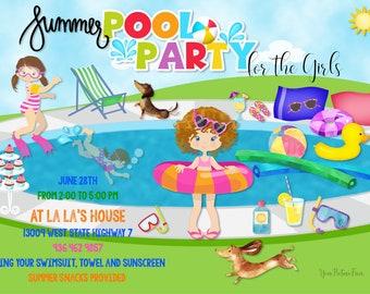 Custom Invitation, Children, Swim, Pool Party, Boho, Summer, Kids, Summer, Digital