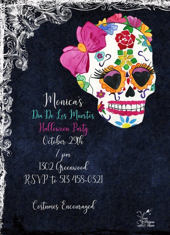 Mexican Skull Fiesta Birthday Invitation Floral Fiesta Invitation Day of the Dead Halloween Party Invite Printed Dia de los Muertos Invite