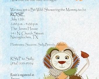 Custom Baby Shower, Invitations, Watercolor, Baby Shower, Jungle,Lion,Boho,Patchwork, Digital