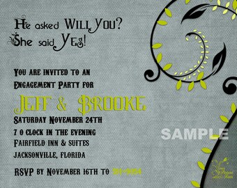 He asked Will You - Engagement Party invitation