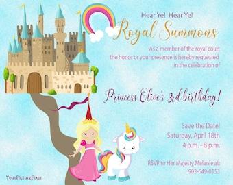 Custom Birthday Invitation, Children, Princess, Watercolor, Boho, Rainbow, Unicorn, Castle, Kids, Digital