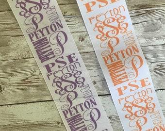 monogramnameinitial ribbon custom printedpick your own colors