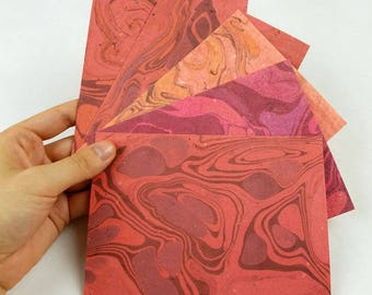 """5 sheets handmade marbled paper with homemade paper // 4 1/2"""" x 6 1/4""""  A6 // suminagashi water marbling // reds and oranges"""